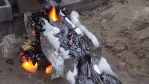 cooking steak on lava