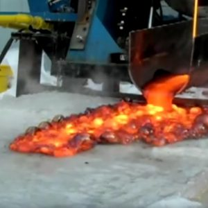 Lava poured on ice