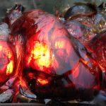 Glowing lava bubbles.