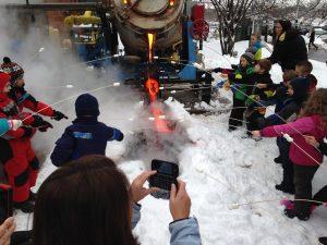 elementary students marshmallows on lava