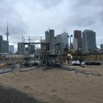 Large blast furnace and lava flow in downtown Toronto.